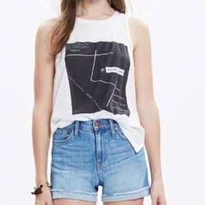 Madewell You are Here White Tank Top Size XXS